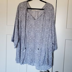 Blue Floral Tunic Top Size 4X
